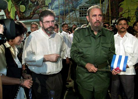 Gerry Adams with Fidel Castro in Havana in 2001. PA photo: Paul Faith
