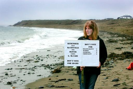 Helen McKendry, the daugher of Jean McConville, on Shelling Hill beach in north Louth. Photo: Tom Conachy