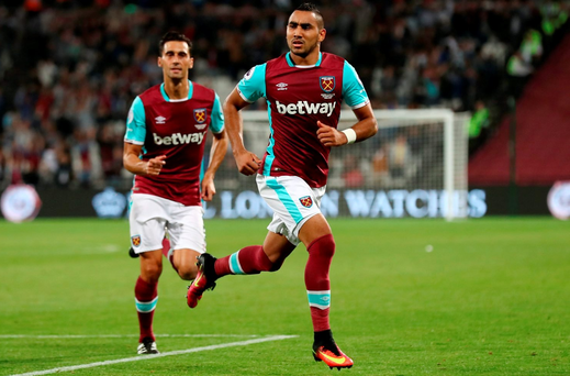 Dimitri Payet of West Ham United celebrates scoring his sides first goal during the EFL Cup Third Round match between West Ham United and Accrington Stanley at the London Stadium on September 21, 2016 in London, England. (Photo by Clive Rose/Getty Images)
