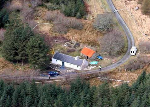 An aerial view of the dilapidated house near the village of Glenties, Co Donegal, where former Sinn Fein member and British spy Denis Donaldson lived and was murdered. Photo credit: Paul Faith / PA