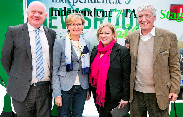 Jackie Cahill TD FF Spokesman for Food & Horticulture,Mairead Mc Guinness MEP ,Dearbhail Mc Donald Group Buisness Editor INM and Paul Wyse, MD Smith and Williamson who spoke at the Brexit Discussion at the Indo Talks at the Farming Independent tent at the National Ploughing Championships in Screggan, Tullamore Co Offaly. Pic Steve Humphreys