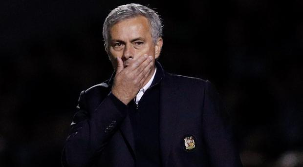Manchester United manager Jose Mourinho was not involved in a post-match press conference - as there wasn't one. Photo: Reuters