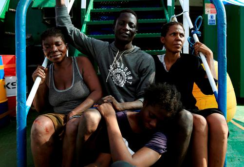 Migrants are seen onboard a vessel after they were rescued from an overcrowded dinghy by members of the German NGO Jugend Rettet during an operation in the Mediterranean Sea. REUTERS/Zohra Bensemra