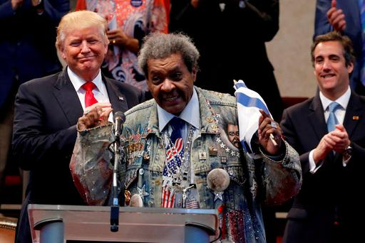 Boxing promoter Don King introduces Donald Trump to speak to a gathering of clergy at the New Spirit Revival Center in Cleveland. REUTERS/Jonathan Ernst