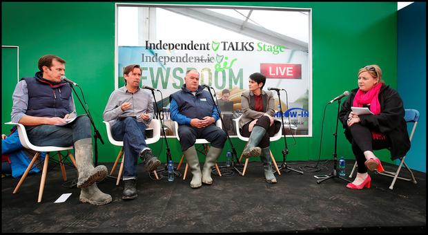 Darragh Mc Cullough, Adrian Weckler, Seamus Sherlock Chairman of the Irish Cattle and Sheep Farmers Association, Carolan Lennon MD open eir and Dearbhail McDonald who spoke at the Rural Broadband talk at the Indo Talks at the Farming Independent tent at the National Ploughing Championships in Screggan, Tullamore Co Offaly. Pic Steve Humphreys