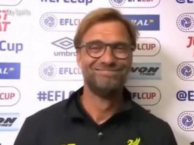 Jurgen Klopp appeared amused when a Sky Sports reporter apologised for his foul language (Sky Sports)