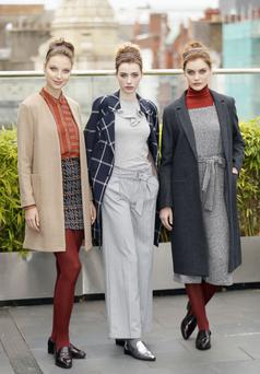 Pictured at the launch of the Marks & Spencer Autumn Winter 2016 Collection are Anastasia Kuchynskaya, Abby Harris, Lauryn Greer and Teodora Sutra. Photo Kieran Harnett (L-R) Anastasia Kuchynskaya M&S Collection Camel Coat	€90 M&S Collection Pin Stripe Shirt €34 M&S Collection Tweed Skirt	€22 Lauryn Greer	M&S Collection Navy Box Check Trench Coat €110 Limited Edition Frilled T-shirt	€29 M&S Collection Pin Stripe Trousers €47.50 Abby Harris	Limited Edition Charcoal Coat €105 M&S Collection Culotte Jumpsuit €54 M&S Collection Rust Poloneck €38