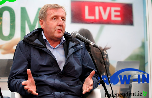 Minister for Agriculture, Food and the Marine Michael Creed speaking at 'The Floating Voter' talk at the Farming Independent tent at the National Ploughing Championships in Screggan, Tullamore Co Offaly. Pic Steve Humphreys