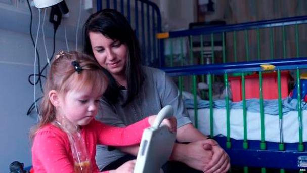 Valeria with her mum Jelena at Great Ormond Street Hospital. Pic BBC