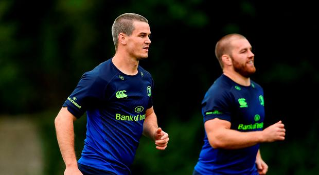 Jonathan Sexton, left, and Sean O'Brien of Leinster during squad training at UCD, Belfield in Dublin this week. Photo by Ramsey Cardy/Sportsfile
