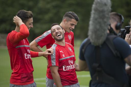 Santi Cazorla with Arsenal team mates Mesut Ozil and Grant Xhaka