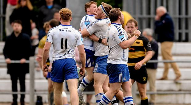 Cork Constitution players celebrate after last year's Ulster Bank League, Division 1A, semi-final win against Young Munster at Temple Hill. Picture credit: Eóin Noonan / SPORTSFILE