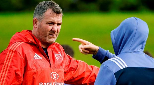 Munster head coach Anthony Foley, left, during squad training at University of Limerick in Limerick. Photo by Sam Barnes/Sportsfile