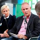 Paul Williams speaking at the 'Farming Independent' stand with, from left, Karen Walsh – author of 'Farming and the Law' – and speaker Graham Lowndes. Photo: Steve Humphreys
