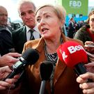 Justice Minister Frances Fitzgerald speaking at The Ploughing yesterday. Photo: Steve Humphreys