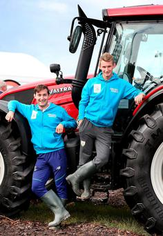 Paul and Gary O'Donovan at the Ploughing in Screggan, Co Offaly, yesterday. Photo: Steve Humphreys