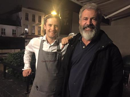 Mel Gibson enjoys a night out in Dublin's FX Buckley Restaurant earlier this week.