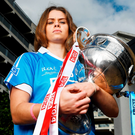 Dublin's Noelle Healy with the Brendan Martin Cup. Photo by Brendan Moran/Sportsfile