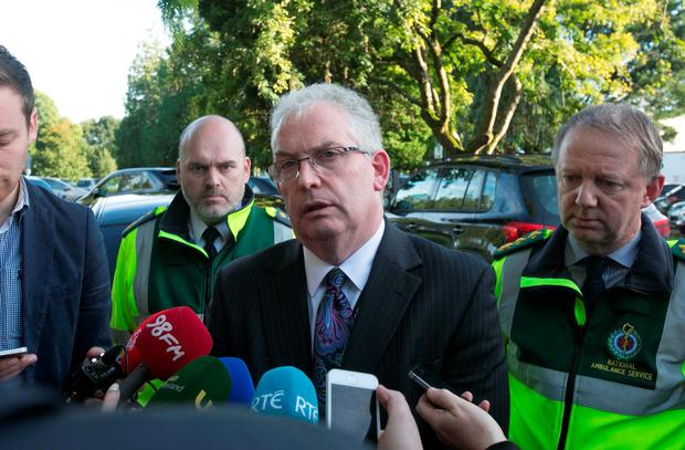 HSE director general Tony O'Brien addresses the media at Naas General Hospital, Kildare. Photo: Gareth Chaney Collins
