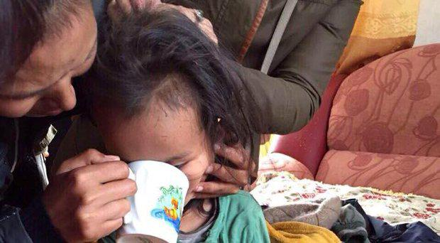 Three-year-old Tserin Dopchut following his rescue Sholban Kara-Ool/ Facebook