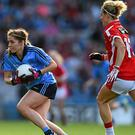 Sinéad Finnegan, Dublin, in action against Valerie Mulcahy, Cork. TG4 Ladies Football All-Ireland Senior Championship Final, Croke Park, Dublin.