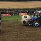 Inter-county tractor football at the Ploughing Championsips. Photo: Today FM / YouTube
