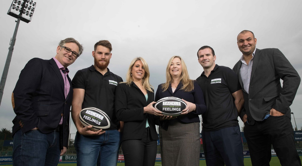 Jake Heenan and Shane Jennings supporting IRUPA's Tackle Your Feelings campaign