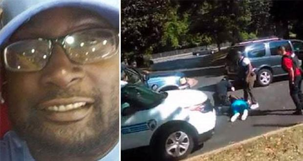 Footage of victim Keith Scott (left) being shot has been released by his family