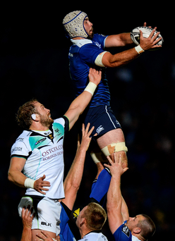 Leinster's Mick Kearney wins a line-out ahead of Alun Wyn Jones of Ospreys at the RDS last night. Picture: Sportsfile