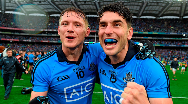 Paul Flynn and Bernard Brogan celebrate last year's All-Ireland final victory over Kerry – however both struggled to find their best form against Mayo in the drawn final last Sunday Picture: Ray McManus / SPORTSFILE