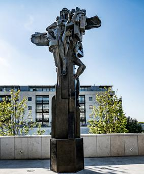 Hidden away: The Christ the King statue in its current home in Dún Laoghaire