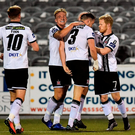 23 September 2016; Brian Gartland of Dundalk is congratulated by team-mates John Mountney, left, and Daryl Horgan, right, after scoring his side's second goal during the SSE Airtricity League Premier Division match between Dundalk and Derry City at Oriel Park, Dundalk. Photo by Paul Mohan/Sportsfile