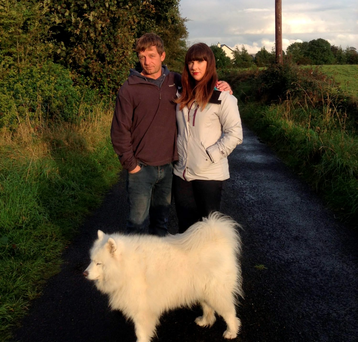 Aine O'Neill and her husband Rick and their dog out for a walk in Galway