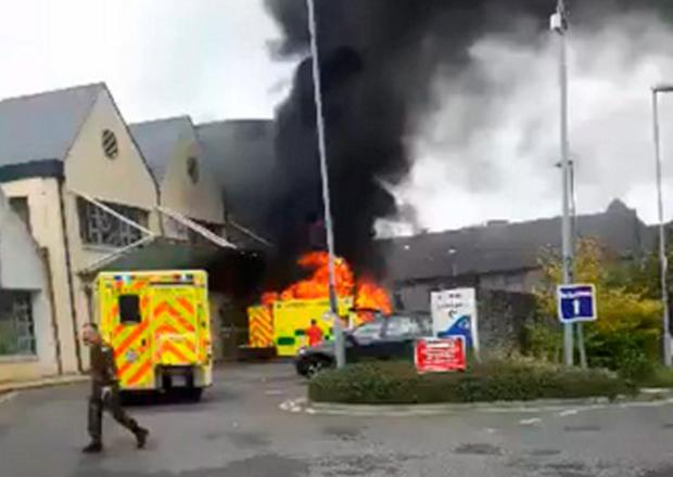 The ambulance on fire at Naas General Hospital. Photo: Rob Moore