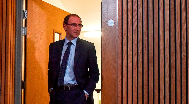 Martin O'Neill arrives at the Irish squad announcement at the Aviva Stadium yesterday Photo by David Maher/Sportsfile