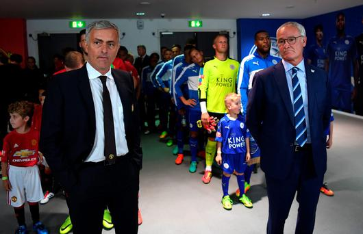 Jose Mourinho and Claudio Ranieri will square off again today Picture: FA/Getty