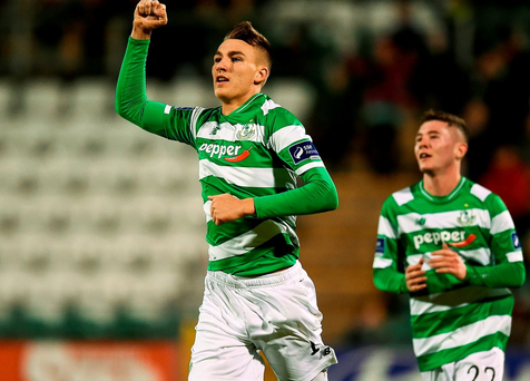 23 September 2016; Sean Boyd of Shamrock Rovers celebrates after scoring his side's first goal during the SSE Airtricity League Premier Division match between Shamrock Rovers and Galways United at Tallaght Stadium, Dublin. Photo by David Maher/Sportsfile