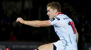 Ulster's Paddy Jackson kicks a conversion in last night's PRO12 Round 4 victory over Glasgow Warriors. Picture: Sportsfile