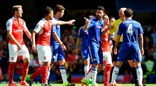 Diego Costa has been a thorn in the side of Arsenal both in terms of goals and incidents which have seen Arsenal players sent off (Photo by Ross Kinnaird/Getty Images)