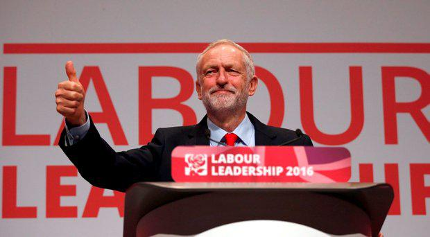 The leader of Britain's opposition Labour Party, Jeremy Corbyn, reacts after the announcement of his victory in the party's leadership election, in Liverpool, Britain September 24, 2016