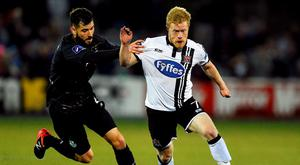 Daryl Horgan of Dundallk in action against David Webster of Shamrock Rovers during the SSE Airtricity League Premier Division match between Dundalk and Shamrock Rovers at Oriel Park, Dundalk in Co. Louth. Photo by David Maher/Sportsfile