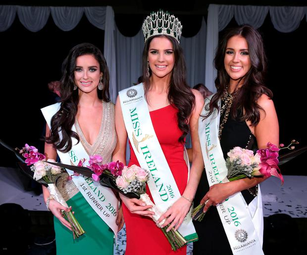 Miss Ireland 2016 Niamh Kennedy with first runner up Aoife McGrane, left, and second runner up Leanne Gray, right, at the Miss Ireland 2016 final. Picture: Brian McEvoy