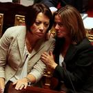 Health Minister Beatrice Lorenzin (R) talks with Agriculture Minister Nunzia De Girolamo at the Senate