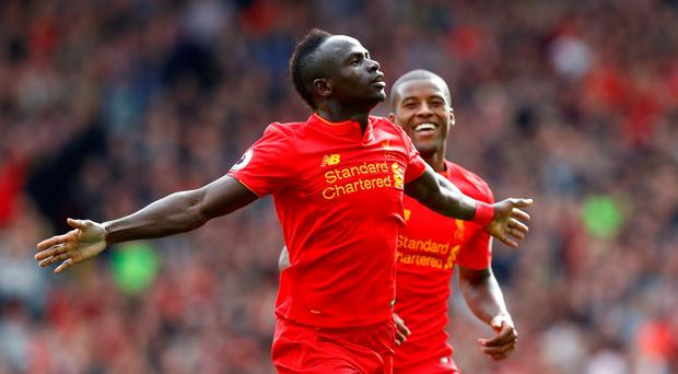 Liverpool's Sadio Mane celebrates scoring for Liverpool