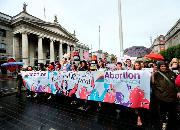 The Repeal the 8th march makes its way past the GPO. Picture; Gerry Mooney
