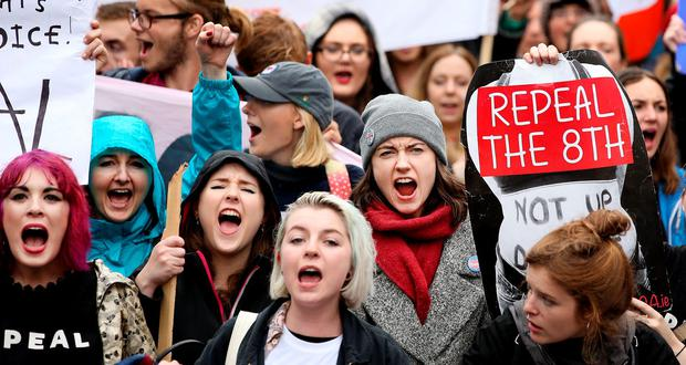 Protesters taking part in the Repeal the 8th march. Picture; Gerry Mooney.