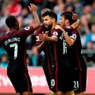 Manchester City's Sergio Aguero celebrates scoring his side's second goal
