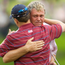An emotional Darren Clarke is congratulated on the 16th by American Zach Johnson after his victory by 3 & 2 in the 2006 Sunday's singles matches. Photo: Matt Browne/Sportsfile