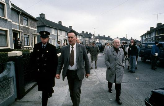 Gardai at Carnlough Road, Cabra, after John O'Grady was found