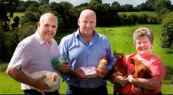 Sean Gallagher, centre, with Leo and Margaret Farrelly of O'Egg, in Mullagh, Kells, in Co Meath. Picture: David Conachy